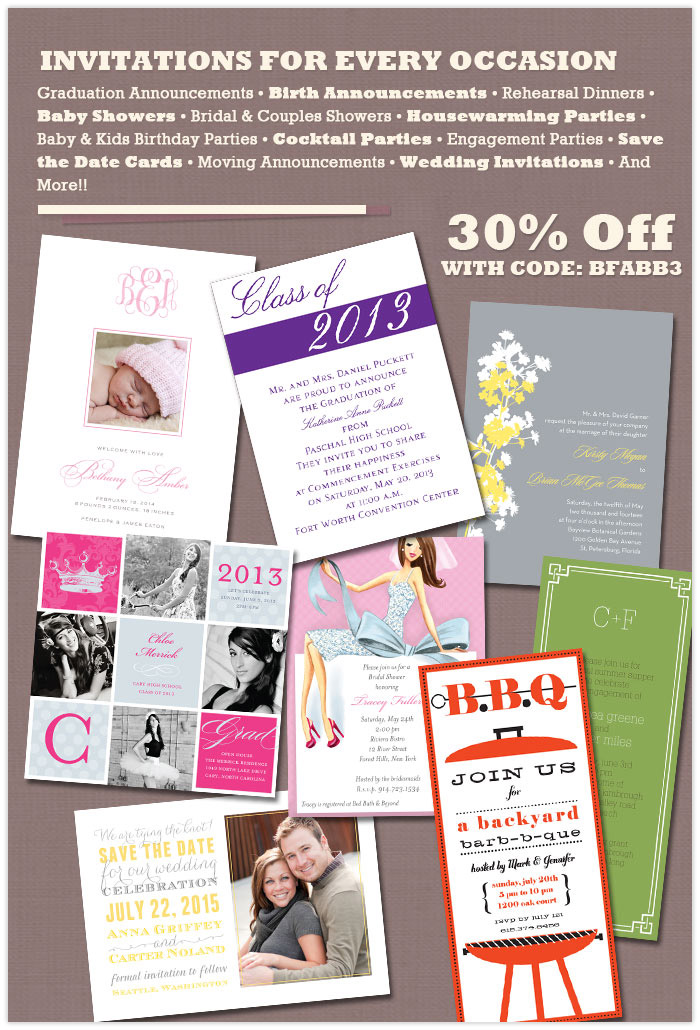 30 % Off all Invitations